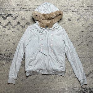 Marc by Marc Jacobs Fur Lined Zip Up Hoodie Gray M